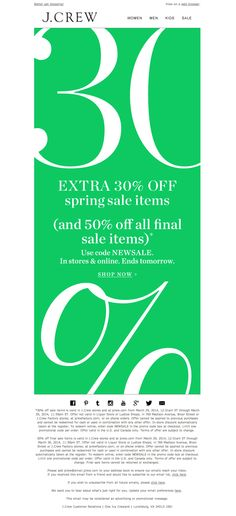 #newsletter J.Crew 04.2014 Introducing spring sale. With an extra 30% off. For two days only.