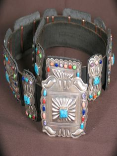 Native American Jewelry | Western Belts | Silver and Multicolor Semiprecious Stone Concho Belt