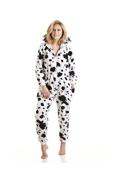 869febf291 Black And White Dalmatian Print Hooded All In One Pyjama Onesie Plus Size  Jumpsuit