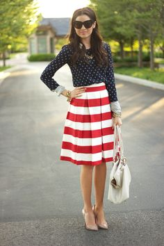 Nautical mixing patterns, red white blue, stripped skirt.