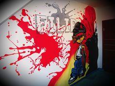 kids room, design,ideas, graffiti,red, hand painted wall Hand Painted Walls, Graffiti, Kids Room, Neon Signs, Children, Nursing, Room Ideas, Design Ideas, Color