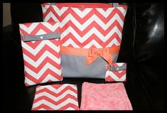 Personalized Baby Girl Coral Chevron Diaper Bag With Wipes Case, Pacifier Pouch And Two Large Minky Wash/Burp Cloths on Etsy, $82.99