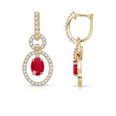Angara Dangling Ruby Chandelier Earrings with Diamond Border zyFhToS