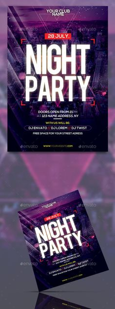 Night Party Flyer Template #dance music #summer  • Download here → https://graphicriver.net/item/night-party-flyer-template/20269040?ref=pxcr