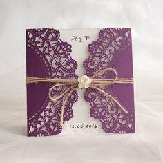rustikale lila Hochzeitskarte Einladung mit Rose KPL188