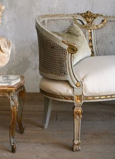 Shabby Chic Vintage French Seafoam Blue & Gilt Cane Settee from frenchgardenhouse on Ruby Lane French Furniture, Shabby Chic Furniture, Rustic Furniture, Vintage Furniture, Painted Furniture, Furniture Design, Cane Furniture, Simple Furniture, Victorian Furniture