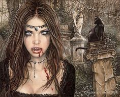 Cat by Artist Victoria Frances. Finished size X Victoria Frances is a Gothic style icon and her art takes you to an exciting world of dark romance, mysticism and passion. Vampire Photo, Art Vampire, Female Vampire, Gothic Vampire, Gothic Angel, Dark Gothic, Anne Stokes, Elf Warrior, Warrior Angel