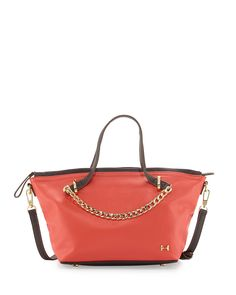 1ba97a3795d0 Halston Heritage Two-Tone Leather Satchel Bag