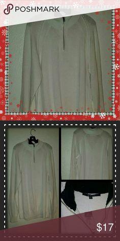 Men's CJ Black White Sweater CJ Black by Rue 21 Men's White Sweater with zipper. Fleece neck in black on inside. 2xl. Brand New! CJ Black Sweaters