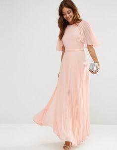 ASOS | ASOS Pleated Flutter Sleeve Caftan Maxi Dress at ASOS