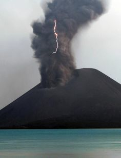 Krakatoa erupting and lightning.