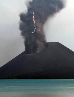 Krakatoa erupting and lightning.