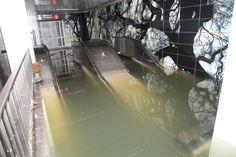 Escalators underwater in NYC subway due to Hurricane Sandy