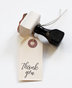 Thank you stamp with handle modern calligraphy by BesottedBrand