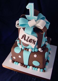 birthday cake with trendy brown and blue!