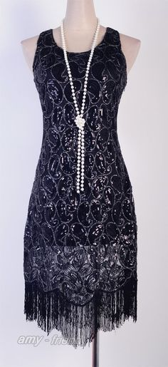 1920's Flapper Party Clubwear Gatsby Abbey Sequin & Tassel Black Dress AF 3239 in Clothing, Shoes, Accessories, Women's Clothing, Dresses | eBay!