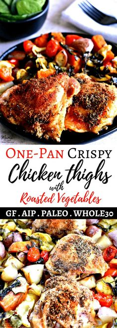 Crispy chicken thighs and roasted vegetables is an easy one-pan meal. A simple spice blend gives tons of flavor to the crispy skin and moist juicy thigh meat. This is in the oven in just minutes for a delicious and budget-friendly main dish. Chicken Thights Recipes, Paleo Chicken Recipes, Gluten Free Chicken, Meat Recipes, Paleo Recipes, Drink Recipes, Recipe Chicken, Paleo Ideas, Free Recipes
