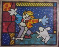 Talagarça pintada a mão para tapeçaria de parede -Brendan & Wishing Dog -  60 x 60  Romero Britto 40 x 50 Informações:  ibarbieri@live.com   -   mãonamassaatelier@gmail.com