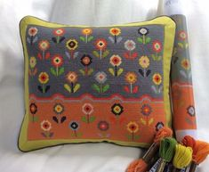 Ditsy Daisies new floral tapestry kit, a wonderful addition to our Bloom range of kits. Cross Stitch Pillow, Cross Stitch Rose, Cross Stitch Embroidery, Tapestry Kits, Tapestry Design, Needlepoint Designs, Needlepoint Canvases, Tent Stitch, Clip Frame