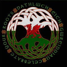 Celtic tree of life and Welsh dragon.