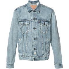 Levi's classic denim jacket ($128) ❤ liked on Polyvore featuring men's fashion, men's clothing, men's outerwear, men's jackets, blue, mens blue jacket and mens blue jean jackets