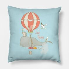 Just Flying - Whimsical Cartoon Whale with Animal Friends - Cute Animal Drawing - Pillow | TeePublic