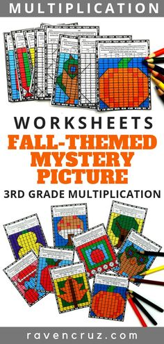 Grab these fall-themed multiplication mystery picture worksheets for your 3rd grade math students. They will love solving the multiplication problems to reveal a fall-themed picture. #multiplication #thirdgrademath #fourthgrademath #homeschool #homeschoolmath