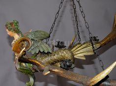 antique carved wood harpy lusterweibchen