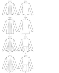 McCalls 6844.  Close-fitting cardigans (do not meet at center front) have collar extending into front band, and narrow hem. A and C: shaped hemline, wrong side shows.