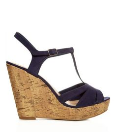 Navy Suedette T-Bar Cork Wedges new look T Strap Shoes, T Strap Sandals, Shoes Sandals, Suede Shoes, Shoe Boots, Shoe Bag, T Bar Shoes, Navy Blue Shoes, Teen Guy Fashion