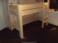 Bouwtekening hoogslaper / bed steigerhout Boys Loft Beds, Diy Toddler Bed, Kids Bedroom, Bedroom Decor, Bunk Bed Designs, Interior Design Magazine, Woodworking Projects Diy, Diy Bed, My New Room