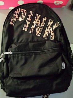 Victorias Secret Pink Leopard Trim Campus Backpack Bookbag Carry On Full Size #VictoriasSecret #Backpack