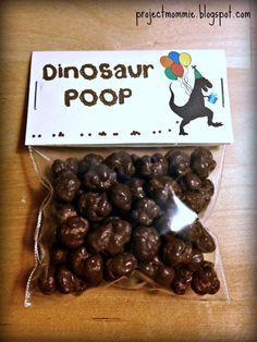 "PDF: Dinosaur Poop Party Favor Bag Toppers 3"" Wide - coprolite Paleo caveman silhouette printable"