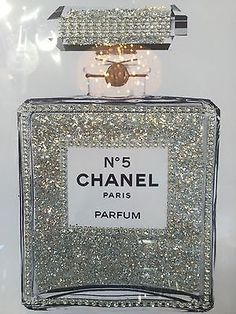 Chanel No 5 Perfume Bling Glitter Print In Silver Picture