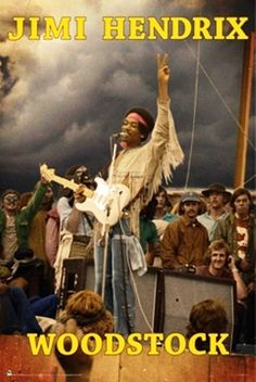 24X36 JIMI HENDRIX WOODSTOCK LIVE ON STAGE ART PRINT POSTER MUSIC REALISM #Realism