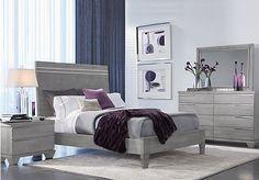 picture of Dominique Gray 5 Pc Queen Panel Bedroom from Queen ...