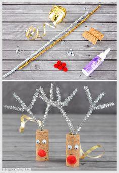 DIY Cork Reindeer Ornaments   Vicky Barone