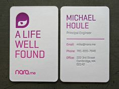 gorgeously printed business cards (split fountain, letterpress, etc.) and I love that logo
