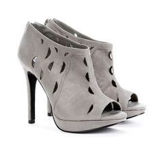 Platform ankle bootie with back zip closure and cut out detail