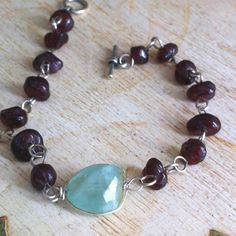 Garnets and aquamarine in sterling silver
