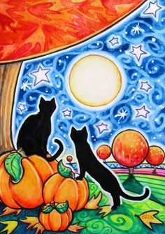 Autumn Evening - 5x7 print - black cat moon stars Fall Autumn landscape whimsy