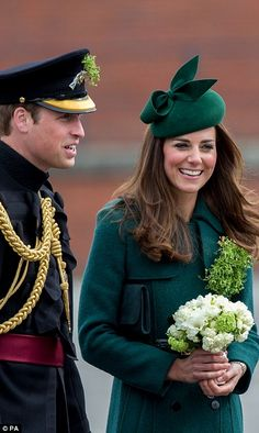 The Duchess of Cambridge, who was resplendent in green, was gifted with a bouquet of flowers