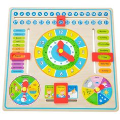 Superb Wooden Clock and Calendar Now At Smyths Toys UK! Buy Online Or Collect At Your Local Smyths Store! We Stock A Great Range Of Wooden Toys & Puzzles At Great Prices. Board For Kids, Busy Board, Toys Uk, Wooden Clock, Play To Learn, Shopkins, Pre School, Diy Crafts For Kids, Cool Toys