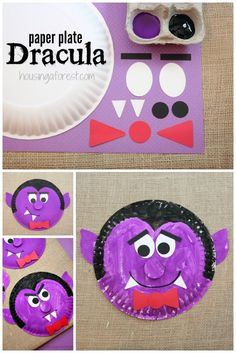 Paper Plate Dracula 45 Halloween Crafts For Kids: Easy Halloween Party Ideas For Kids To Make - VCDiy Decor And Diy Halloween, Halloween Arts And Crafts, Theme Halloween, Halloween Activities For Kids, Halloween Vampire, Halloween Projects, Halloween Labels, Halloween Stuff, Halloween Pumpkins