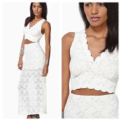 ✨1 DAY SALE✨ $45 Lace Cut-out Maxi Dress Brand new w/ tags & never worn. I've had it for over a year & never got the chance to wear. Picture looks white but dress is actually more like Ivory. The brand is Audrey 3+1 purchased from Nasty Gal. 40% nylon, 55% polyester, & 5% spandex. Dry clean or hand wash cold. Perfect for a small wedding . Price is FIRM. Nasty Gal Dresses Maxi