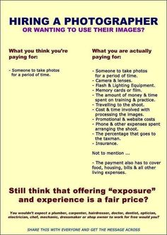 Hiring a photographer - what you are actually paying for.