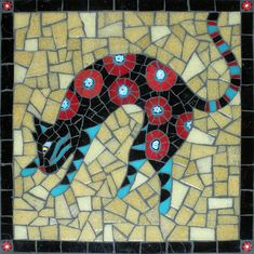 """8x8"""", stained glass, vitreous, millefiori, on wedi."""