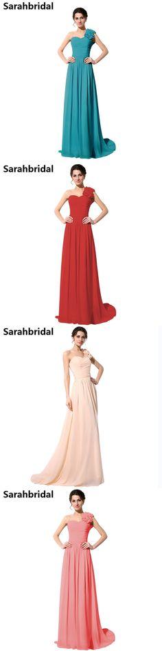Elegant one shoulder Green Chiffon Evening Dresses Pleat handmade Flower red Formal Evening gowns vestidos de noche SD126