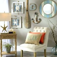 Create a coastal-style gallery wall with beach themed decor ⚓️     Click the  in bio to browse beach wall decor