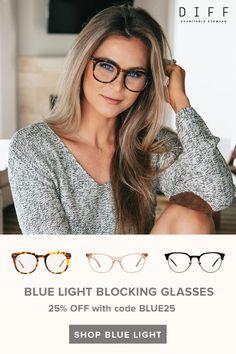 Block harmful blue light with DIFF Eyewears blue light blocking glasses. Balayage Hair Blonde, Brown Blonde Hair, Dark Hair, Blonde With Glasses, Medium Hair Styles, Short Hair Styles, Hair Medium, Hair Doo, Try On Hairstyles
